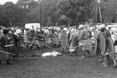 Historia Normannis - Ormskirk Medieval Weekend (the underlord) Tags: historianormannis medieval historic reenactment battle lifestyle kodakd76 10minutesatstock film 12thcentury ormskirk coronationpark medievalweekend ilfordfp4plus 200asa westlancashire combat pike axe helmet armour