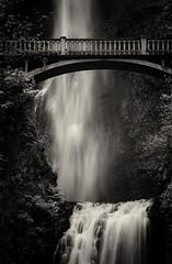 Detail, Multnomah Falls (Robert_Brown [bracketed]) Tags: robertbrown portland oregon multnomahfalls columbiagorge blackandwhite bw waterfall waternature bridge walkingbridge