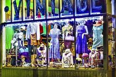 VINTAGE (panache2620) Tags: vintage clothing vintageclothing store shopping night minneapolis minnesota resale remix photodocumentary photojournalism noflash colorful color storefrontblues purples eoscanon