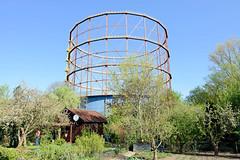 DSC_5453  Gasometer in Münster, errichtet 1954 - stillgelegt 2005; die Glockenkonstruktion des Teleskopgasbehälters steht als technisches Denkmal unter Denkmalschutz. Im Vordergrund eine Kleingartenanlage mit Obstbäumen und Schrebergartenhaus. (stadt + land) Tags: gasometer errichtet 1954 stillgelegt 2005 glockenkonstruktion teleskopgasbehälter technisches denkmal denkmalschutz kleingartenanlage kleingarten schrebergartn obstbäumen schrebergartenhaus stadt münster bundesland nordrhein westfahlen fahrradstadt bilder rundgang impressionen altstadt mitglied hansestadt hanse täufer reformation