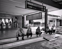 Entrance (rizqyunggul) Tags: amateur indonesia outdoor station blackwhite streetphotography urban candid people publicplace