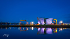 Harbour Night Apr 2018-5 copy (n.king4) Tags: northernireland belfast harbour titanic odessey ships fishing boat lagan harland wolffe cranes reflection reflections marina blue hour framed