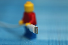 "Plug or Jack (Neyol) Tags: ""plugs jacks"" plug jack macro mondays macromondays lego minifigure neyol dof color colour blue red tan iphone cable holding hmm"