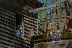 Fascination - Hagood Mill - Pickens, S.C. (DT's Photo Site - Anderson S.C.) Tags: canon 6d 135mmf2l lens hagood mill pickenssc southcarolina upstate rural water wheel boy grist stream creek rustic vanishing southern america usa scenic landscape antique pastoral quaint