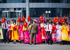 Waiting for the parade, DPRK (TeunJanssen) Tags: military parade pyongyang northkorea dprk ypt youngpioneertours asia korea flowers dressedup waving olympus omd omdem10 backpacking travel traveling worldtravel worldtrip people celebration kimilsung dayofthesun anniversary