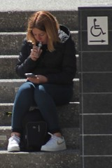 CND-SF-2930 (devnullimages) Tags: san francisco sanfrancisco candid female drugs ginger readhead red hair marijuana vape blitz handicapped sign