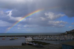 Rainbow over Brixham quay (Steve M Photography) Tags: rainbow brixham devon weather downpour raresight colour colourful stormy clouds atmosphere atmospheric moody dramaticsky sky seascape port quay harbour seaview arcenciel