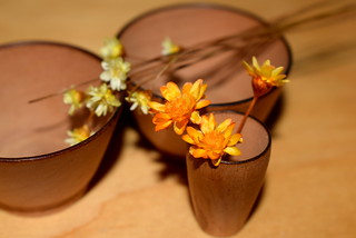 wooden bowls with flowers