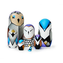 DSC07331 (fortmoon) Tags: techno owls etsy fortmoon azure bronze matryoshka dolls violet art handpainted interior cyber computer style gold grey white creatures character design family ecofriendly decor wooden