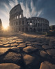 Light from the past (Fran4Life) Tags: architecture colosseum colosseo coliseum ruins roman roma rome empire eternal forever arch gladiator epic sunrise fran4life photography foreground rocks nikon sunburst sunstar birds flare city cityscape vertical landscape shadows light morning noone sky blue yellow orange glow beautiful wide wideangle