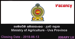 Management Assistant, Officer Assistant – Ministry of Agriculture – Uva Province (Jobary.LK) Tags: government jobs all govt job search vacancies application websites