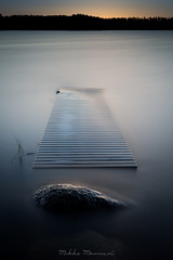 Flooded (Mikko Manner) Tags: nikond7200 sigma1835mmf18art longexposure polarisingfilter 10stopfilter bigstopper pier underwater water lake sunset aftersunset smooth smoothwater relaxing calm finland hirvensalmi photography sky treeline trees reflection