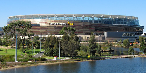 21 May 2018 - Zoomed panorama of OPTUS Stadium at Burswood, Perth, Western Australia