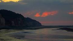 Normandie by night (Ker Kaya) Tags: paysage landscape night reflections water shore coast ocean sky clouds normandie varengevillesurmer france kerkaya sony sonydscrx10m4 zeisslens carlzeiss cliffs sand sunset beach rocks sea seascape