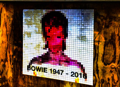 Bowie 1947 - 2016 (Steve Taylor (Photography)) Tags: davidbowie bowie pixels art digital graffiti pasteup wheatup wheatpaste poster streetart blue black brown yellow white orange red pink sad plywood paper man newzealand nz southisland canterbury christchurch cbd city grain texture memorial tribute