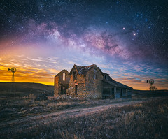 Broken Down Nights (Darren White Photography) Tags: kansas nightphotography blends art artisticvisuals realscene sigmalenses abandonedhomes windmills