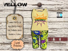 < SP > Summer POW PJ's for Boys_Yellow (Sweet.Potatoes) Tags: toddleedoo baby kid children shopping event fitted mesh second life pjs nightwear summer dreamer pow boys girls son daughter brother sister fun sleeptime