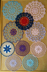 small Doilies (cater it simple) Tags: crochet thread crocheted doily doilies red white blue purple small
