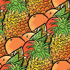 seamless pattern of pineapples and oranges (Hebstreits) Tags: ananas art background color decoration design dessert diet drawing drawn exotic fabric floral food fresh fruit fruits graphic green hand health healthy illustration juicy leaf natural nature orange organic pattern pineapple plant print seamless summer sweet textile texture tropic tropical vector vegetarian vintage vitamin wallpaper watercolor white yellow