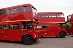 Non identical triplets (gooey_lewy) Tags: london transport event epping ongar railway tfl museum north weald station bus stop double decker routemaster preserved old rml 900 rml900 rma 48 rma48 nmy 631e bea three red buses different but same