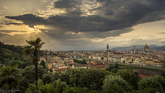 Florence - Italy (Dennis van Dijk) Tags: florence tuscan city tuscany italy europe cityscape panorama view beauty sunset sun rays light ray river arne arno ponte vecchio duomo leonardo vinchi