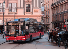 Vienna's red bus (WT_fan06) Tags: bus vienna linien man red busy city centre nikon d3300 dslr photography artistic artsy aesthetic orange horse carriage saturated colors colorful contrast aperture atmosphere black grafstift urban hectic rush street narrow 7dwf flickr coth5 day light beautiful outdoors outside buildings architecture walk readyfortheday wien wiener art summer