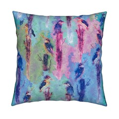 KINGFISHER throw pillow Lavender Blue by Paysmage (paysmage) Tags: paysmage watercolor spoonflower roostery painted pattern painting wallpaper pillow fabric fabrics colorful cotton collection lavender blue bird birds forest wood print polyester pod printondemand upholstery sewing stiching seamless throwpillow cushion animals nature colors enchanted