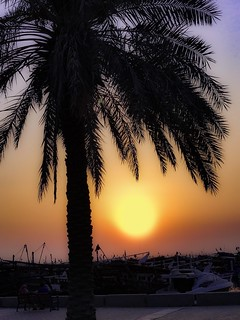 The last moments of sunset in the skies of Kuwait City