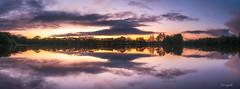 Etang de Rosporden (Soregral) Tags: leverdesoleil sunrise ciel water reflections reflets leefilter longexposure paysage cloud nuage littlestopper techniquephoto étang poselongue eau filé panormique