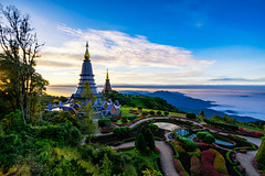 Sunrise scence of two pagoda on the top of Inthanon mountain in doi Inthanon national park, Chiang Mai, Thailand. (MongkolChuewong) Tags: architecture art asia background beautiful buddha buddhism buddhist building chiang chiangmai culture doi flower grass green high history inthanon landmark landscape mai mist morning mountain national nature north old pagoda panorama park popular religion religious season sky space sunrise sunset temple thai thailand top tourism tourist traditional travel traveler vacation