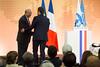 French President Emmanuel Macron at the OECD (Organisation for Economic Co-operation and Develop) Tags: 2018 oecd emmanuelmacron visit nomoneyforterror conference angelgurria secretarygeneral paris france fra