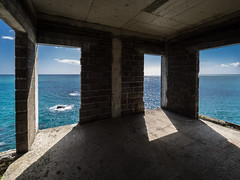 Haus am See (Ulmi81) Tags: lost place madeira concrete building architecture walls windows open shadows sun sea blue day summer spring hot inside indoor outdoor decay abandoned perspective horizon ocean atlantic coast shore seaside bricks floor construction minimalism