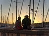 Sunset moments: couple (LukaBoban) Tags: milna brac sunset warm gold hour orange yellow light late moment enjoy croatia canon powershot g15 ice cream couple people candid street sails marina sea maritime