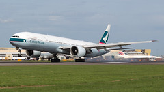 Cathay 777-367ER. (spencer_wilmot) Tags: cx cpa cxcpa cathaypacific boeing 777 777300 777300er 773 77w b77w b773 tripleseven boeing777 touchdown landing landinggear runway heathrow heavy lhregll lhr egll london longhaul widebody twin massive long aviation aircraft airplane airliner airport arrival airside apron approach civilaviation commercialaviation huge ils jet jetliner oneworld plane passengerjet ramp 777367er extendedrange bkpe 27l