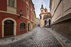 Panorama of Karlova Street and Church of Assumption of Mary in the Morning, Prague, Czech Republic (ansharphoto) Tags: architecture assumption belltower bohemia building capital cathedral church city cityscape cobblestone culture czech dawn destination dome europe european historical history house iconic lamp landmark landscape mary medieval morning old pano panorama praga prague republic shop sky skyline spire statue street tourism tower town travel twilight urban vacation view vltava window