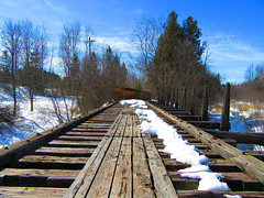 IMG_2458 (PGK88) Tags: pgk88 2018 outdoors railroad railway bridge wood abandoned deserted derelict perspective distance snow winter old landscape