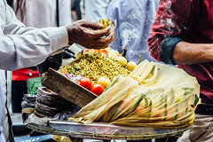 Sprouted Moong Daal Chaat Vendor & Incesnse, Delhi India (AdamCohn) Tags: adamcohn delhi india newdelhi chaat food hands incense smoke sproutedmoongdaal streetfood streetphotographer streetphotography streetvendor vendor wwwadamcohncom
