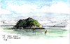 Perfect day - Clark Island Sydney Harbour (panda1.grafix) Tags: sydneyharbour seascape inkwash sketch