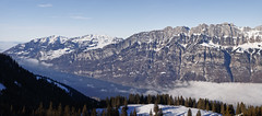 Panorama from Flumserberg (Thomas Mülchi) Tags: 2017 appenzellalps ch cantonofstgallen churfirstenmountainrange flumserberg lakewalen landscape mountain mountains objects panorama switzerland tannenbodenalp type weather blue bluesky clear clearsky foggy panoramic seaoffog sky snow snowy sunny tree trees winter quarten sanktgallen