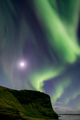 Auroras in the Moonlight (lukejc1) Tags: night northernlights winter astrophotography stars auroraborealis nightsky locations march nightscape seasons vik sky iceland ringroad europe southiceland months european travel vikimyrdal vík víkímýrdal darksky nightphotography season