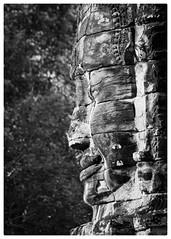 Face of Bayon (Johnbasil1) Tags: relic profile weathered character mono bw imposing ancient temple angkor bayontemple