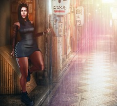 RainGurl ☔️💁💕 (Annie Shade) Tags: secondlife firestorm rain japan alley lights lens reflection boots