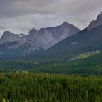 A Look Across the Mountainside of the Rundle Peaks to the Three Sisters (Banff National Park) thumbnail