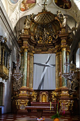 Cross (Tigra K) Tags: wien austria at vienna 2017 architecture baroque candle ceiling church column cross crucifix glass interior lantern ornament painting sculpture statue art arch
