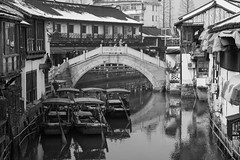Zhujiajiao Water Town - Shanghai (virtualwayfarer) Tags: shanghai shanghaishi china cn ancientvillage historicvillage oldcity watertown watervillage watercity canals exploring chinese chinesetourism tourism tour zhujiajiaowatertown zhujiajiao winter cold yangtzeriver canal boat boats raft bridge bridges alexberger travelphotography sonyalpha a7rii travelphotographer