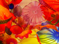 In the octopus's garden (Adaptabilly) Tags: glass usa washington art reflection translucency seattle light sculpture chihuly travel craft transparency lumixgx7 yellow red gallery unitedstates us