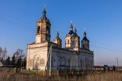 Old Church. (Oleg.A) Tags: ustkaremsha penzaregion spring russia building cathedral church old sky brick village outdoor churchoftheascension evening bell nature landscape countryside blue abandoned rural design exterior sunset orthodox materials architecture cross destroyed yellow dome white catedral landscapes outdoors penzenskayaoblast ru