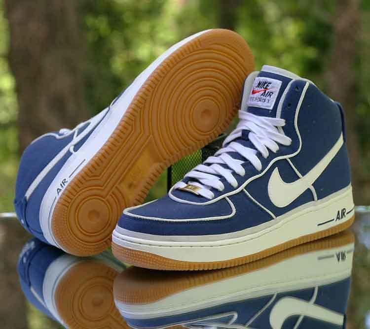 sale retailer 15e05 563a7 Nike Air Force 1 High  07 LV8 Men s Binary Blue Sail Gum Canvas 806403-