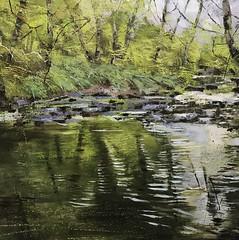 The Water Into Ripples Breaks - mixed media on canvas 100 x 100 cm SOLD (www.sandragraham.co.uk) Tags: artartworkartistartistscontemporaryartcollectorstreambrookburnwaterflowingnaturepaintingartistsimpastopainting dowelsbrook stream water fishing