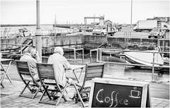 Amble . (wayman2011) Tags: fujifilmxf35mmf2 lightroomfujifilmxpro1 wayman2011 bw mono coast seaside harbours boats people northumberland amble uk